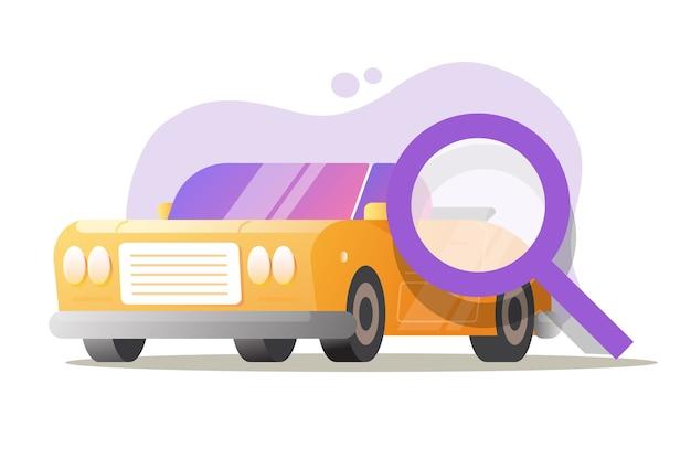 Service Automobile Voiture Automobile Test Contrôle Inspection Vector Illustration De Dessin Animé Plat Vecteur Premium