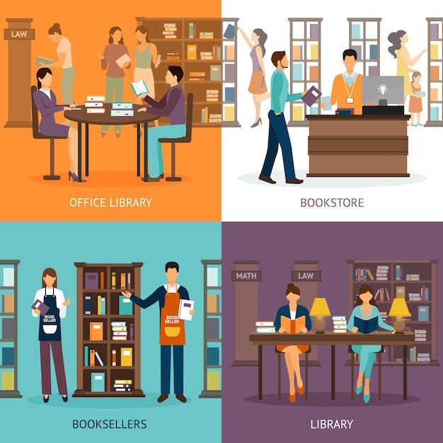 Service de bibliothèque 2x2 set Vecteur gratuit