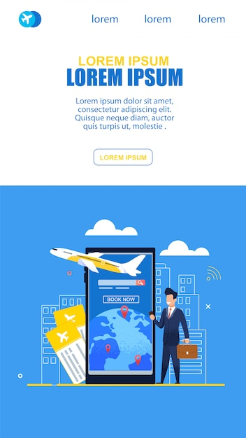Service de billets en ligne utilisés par un homme d'affaires dans l'avion Vecteur Premium