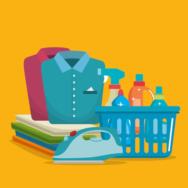 Service de blanchisserie set produits Vecteur gratuit