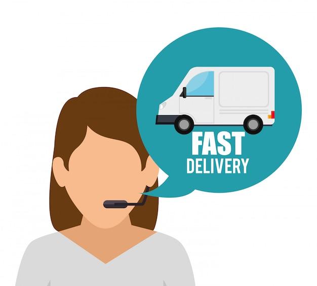 Service De Caractère De Livraison Rapide Vecteur gratuit