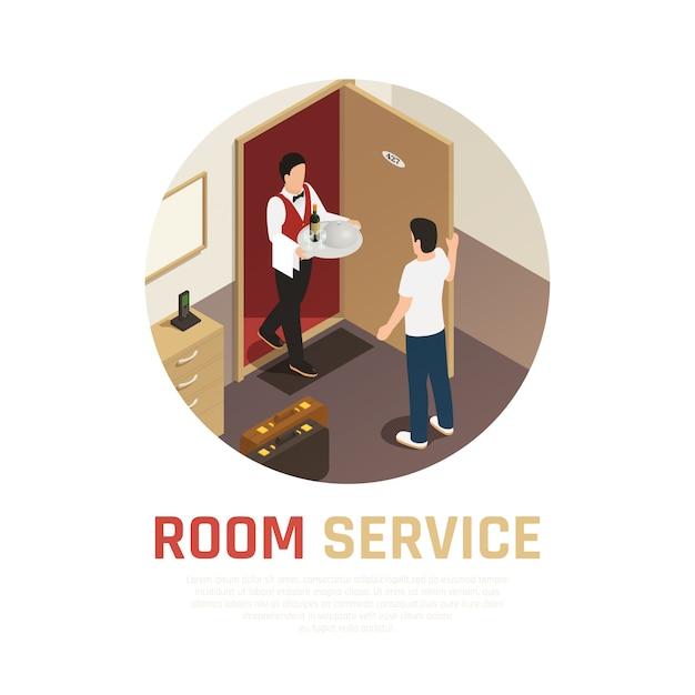 Service En Chambre Ronde Composition Avec Serveur Apportant Un Plateau De Nourriture Dans La Chambre D'hôtel Vecteur gratuit