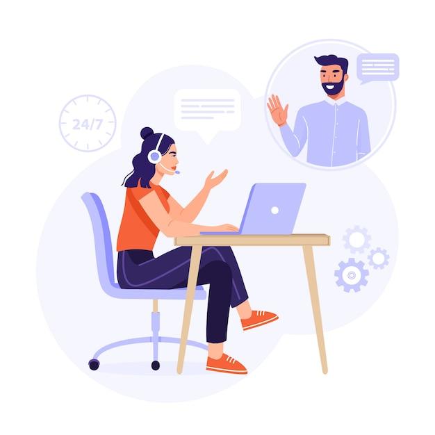 Service Client, Assistant En Ligne Ou Concept De Centre D'appels. Vecteur Premium