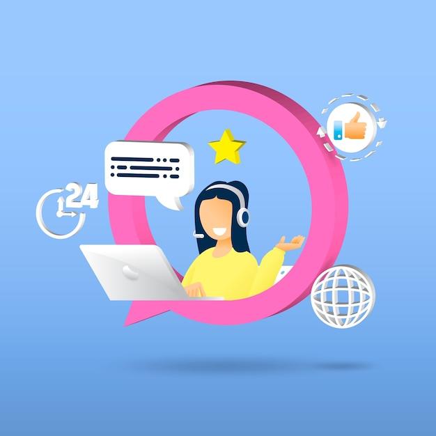 Service Client, Femme Avec Casque Et Microphone Avec Ordinateur Portable Vecteur Premium