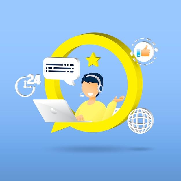 Service Client. Service D'assistant Personnel Vecteur Premium
