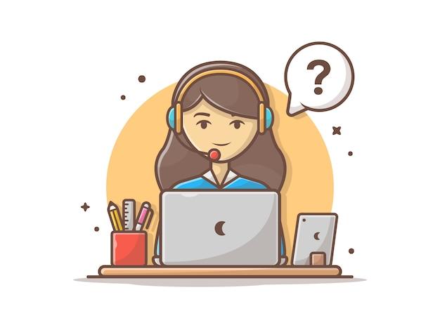 Service à la clientèle heureux avec ordinateur portable et illustration vectorielle clipart Vecteur Premium