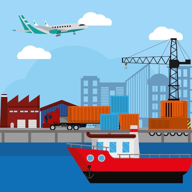 Service commercial de livraison et de logistique Vecteur Premium