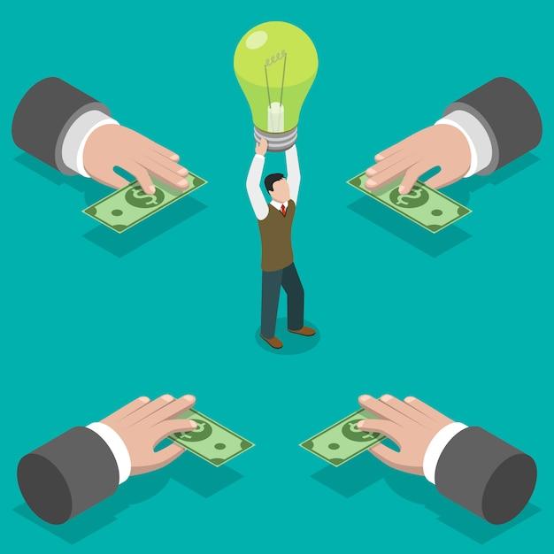 Service De Crowdfunding. Vecteur Premium
