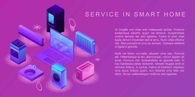 Service Dans Une Bannière De Concept De Maison Intelligente, Style Isométrique Vecteur Premium