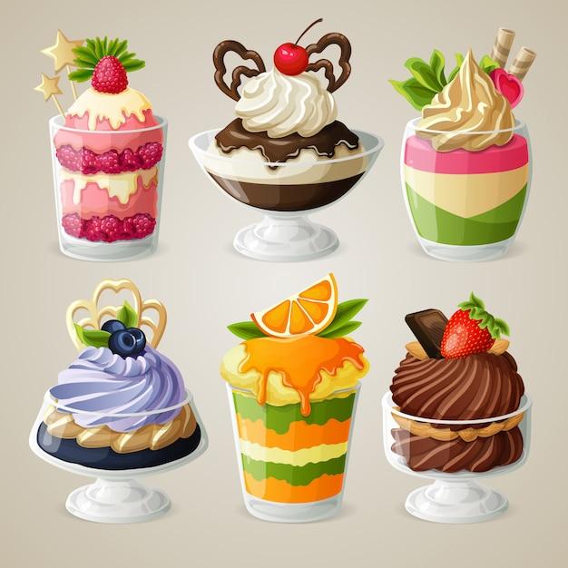 Service à dessert mousse à la crème glacée Vecteur Premium
