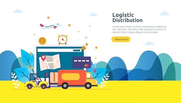 Service de distribution logistique globale et bannière d'expédition dans le monde entier avec caractère de personnes Vecteur Premium