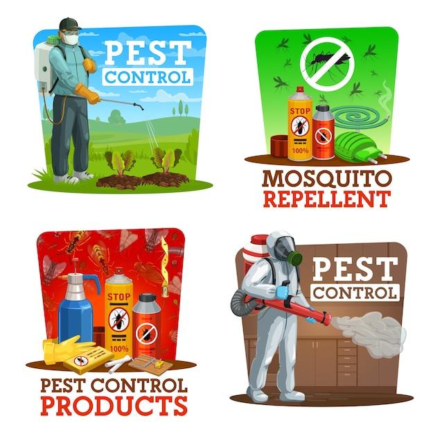 Service D'extermination D'insectes à La Maison Et Dans Les Jardins Vecteur Premium