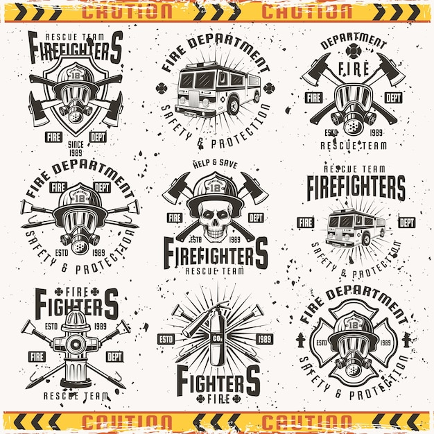 Service D'incendie Ensemble D'emblèmes, D'étiquettes, De Badges Et De Logos En Vintage Sur Fond Avec Des Textures Grunge Sur Un Calque Séparé Vecteur Premium