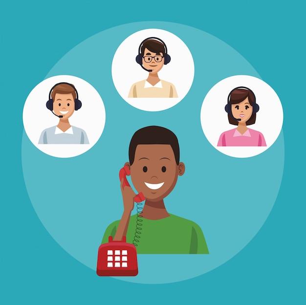 Service de ligne de centre d'appels Vecteur Premium