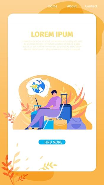 Service en ligne pour bannière web plat vecteur voyageur Vecteur Premium