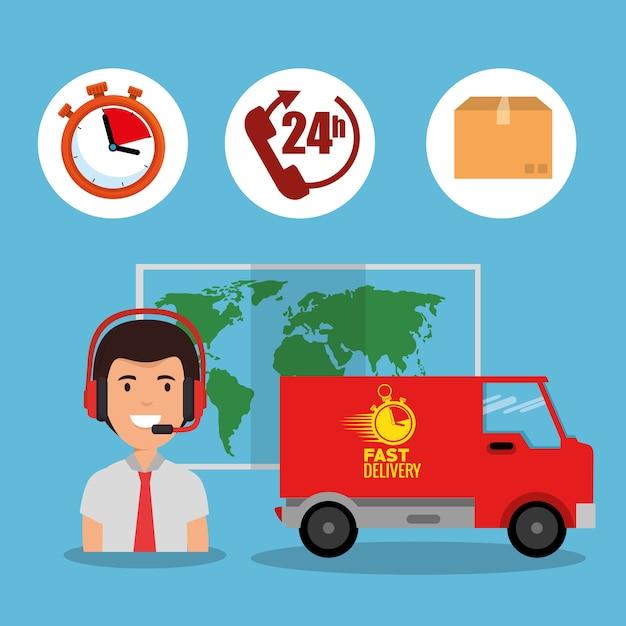 Service de livraison définir les icônes vector illustration design Vecteur Premium
