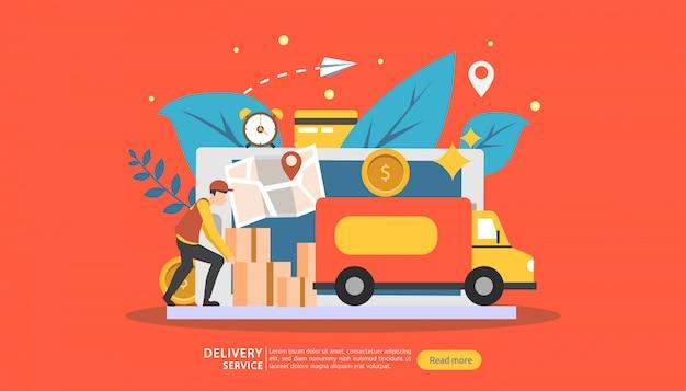 Service de livraison en ligne. concept de suivi de commande express avec minuscule personnage et camion de fret. Vecteur Premium