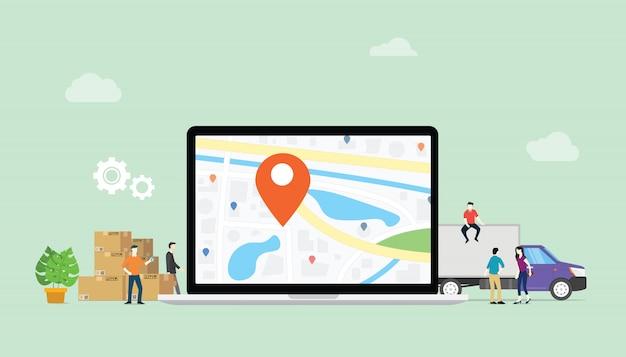 Service de livraison en ligne avec emplacement pour ordinateur portable et gps Vecteur Premium