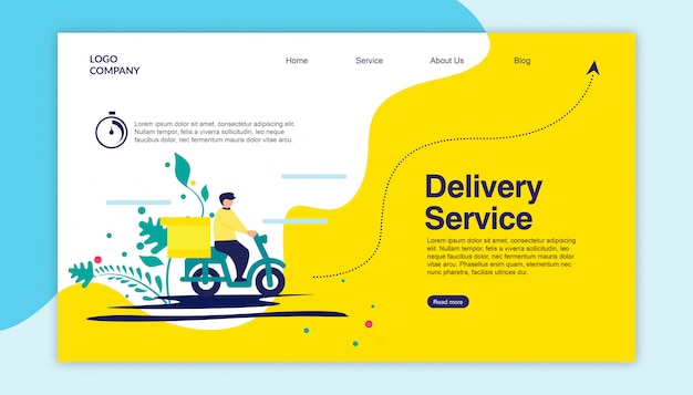 Service de livraison de pages de destination Vecteur Premium