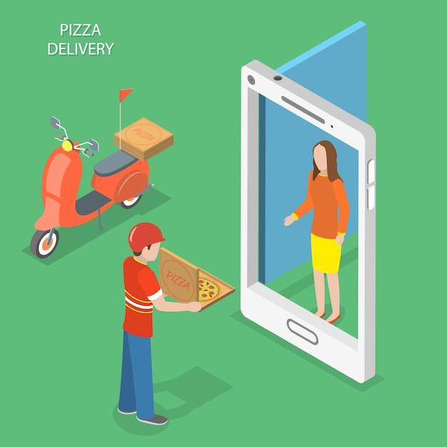 Service de livraison de pizza en ligne. Vecteur Premium