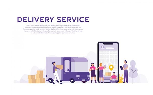 Service de livraison avec suivi des commandes en ligne Vecteur Premium