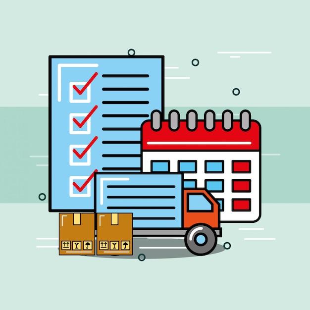 Service logistique et livraison Vecteur Premium