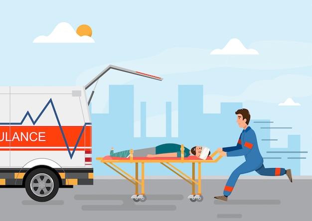 Service Médical D'ambulance Transportant Un Patient Avec Un Membre Du Personnel Vecteur Premium