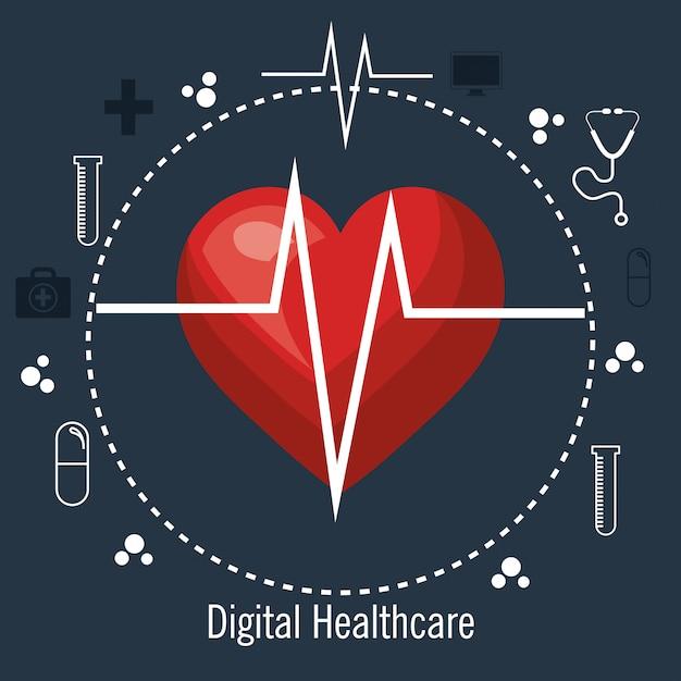 Service médical de cardiologie isolé Vecteur Premium