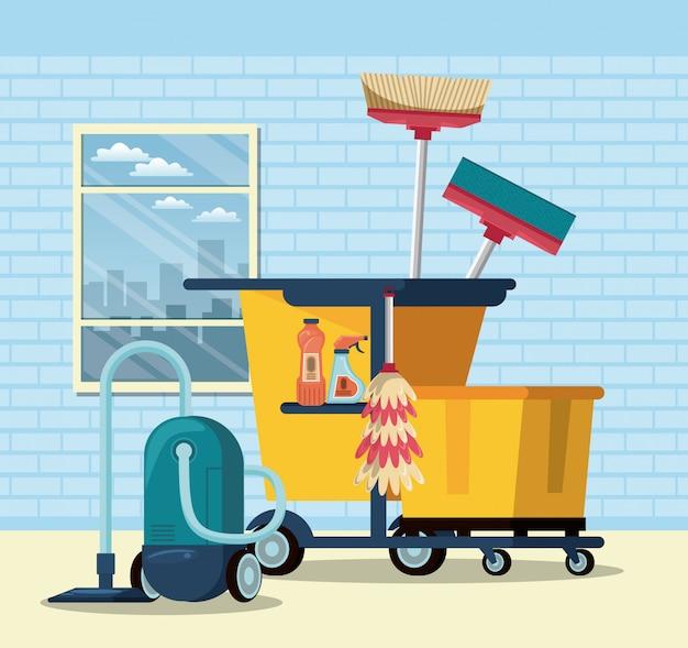 Service de ménage et ménage Vecteur gratuit