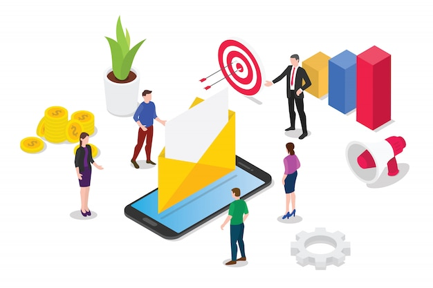 Service de messagerie isométrique ou concept de services Vecteur Premium
