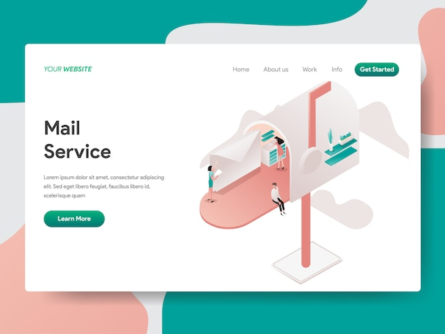 Service de messagerie pour la page web Vecteur Premium