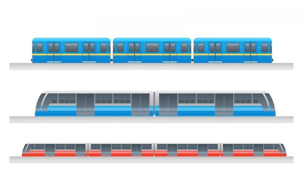 Service de métro urbain moderne pour passagers Vecteur Premium