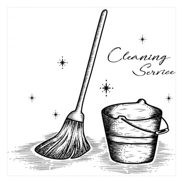 Service de nettoyage dessiné à la main Vecteur Premium