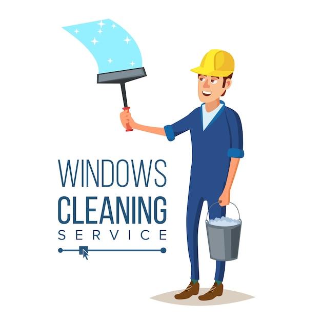 Service de nettoyage windows Vecteur Premium