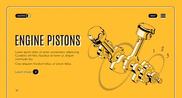 Service De Pistons De Moteur, Bannière Web Isométrique De Magasin De Réparation. Vecteur gratuit