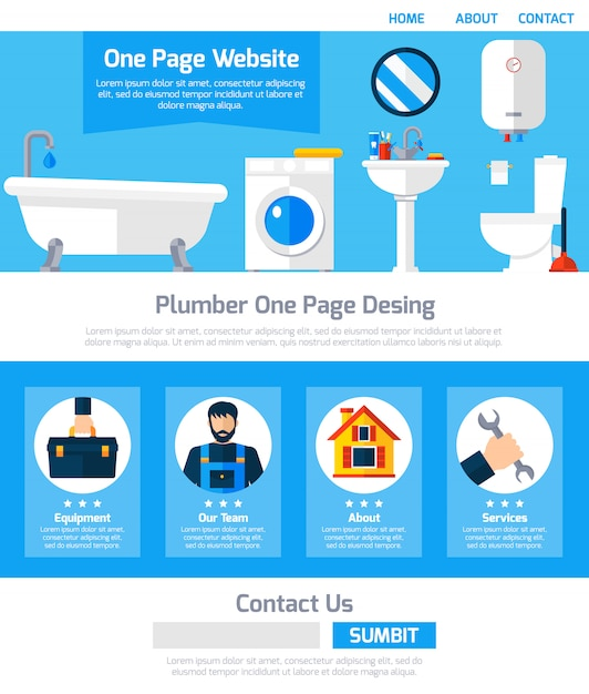 Service de plombier one design de sites web Vecteur gratuit