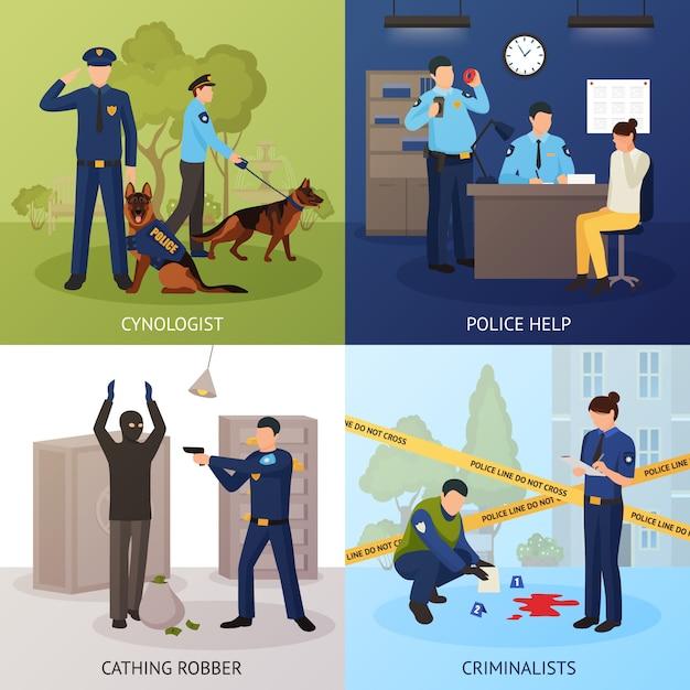 Service de police 4 icônes plates square Vecteur gratuit