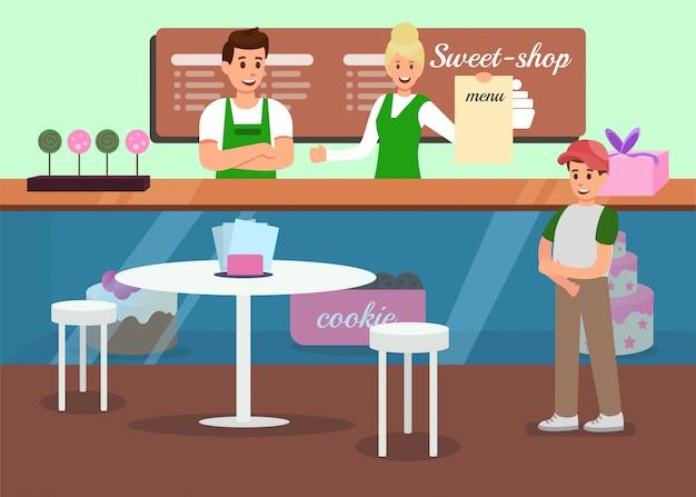 Service professionnel dans sweet shop promo Vecteur Premium
