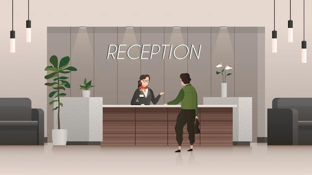 Service De Réception. Réceptionniste Et Client Dans Le Hall De L'hôtel, Personnes Voyageant. Concept De Vecteur Plat Bureau Entreprise Vecteur Premium