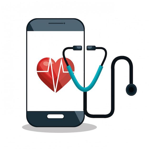 Service de santé numérique médical isolé Vecteur Premium