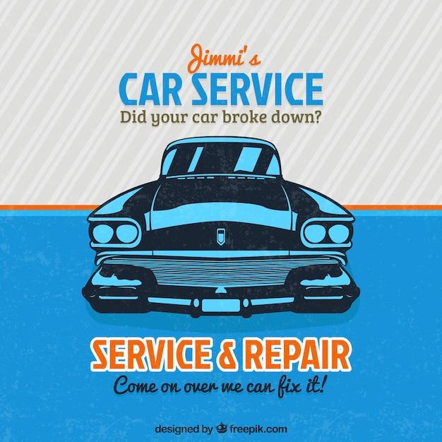 Service signe de voitures anciennes Vecteur gratuit