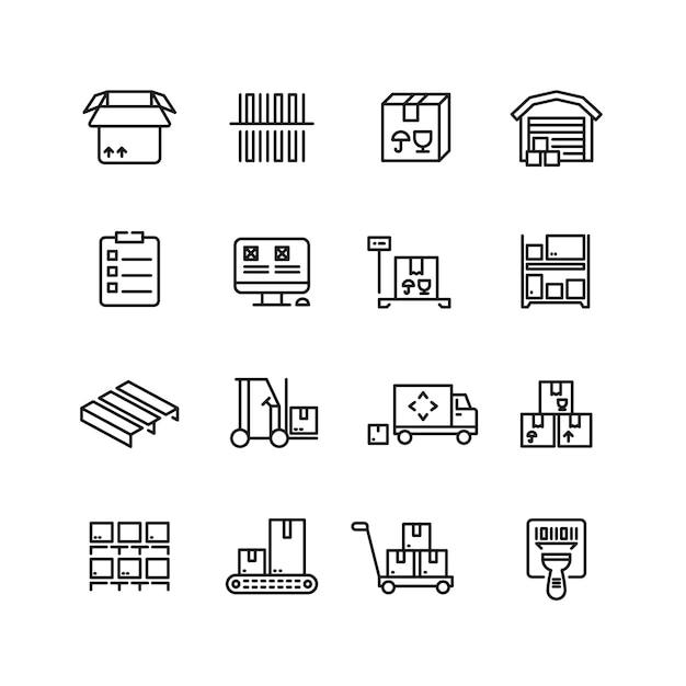 Service de stockage, entrepôt, livraison de colis et icônes de vecteur de ligne d'équipement Vecteur Premium