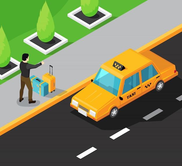 Service De Taxi Fond Isométrique Avec Passager Sur Le Trottoir S'arrêtant Voiture De Taxi Jaune En Mouvement Vecteur gratuit