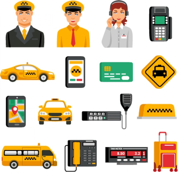 Service de taxi icon set Vecteur gratuit