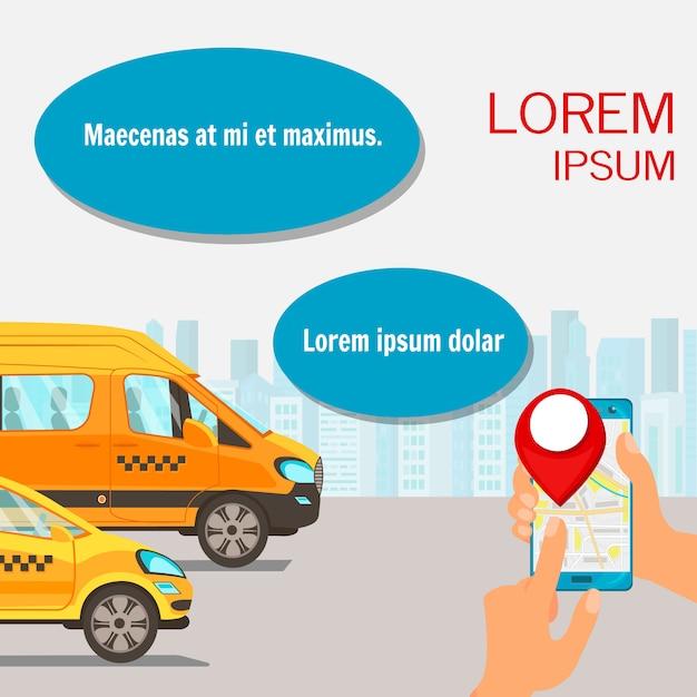 Service De Taxi En Ligne, Illustration Plate Vecteur Premium