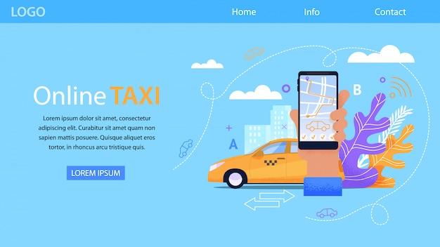 Service de taxi en ligne et yellow cab Vecteur Premium