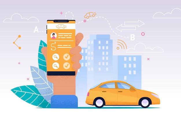 Service de taxi mobile. application plate pour smartphone. Vecteur Premium