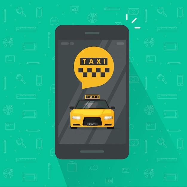 Service De Taxi Sur Téléphone Portable Ou Portable Vecteur Premium