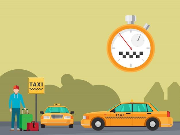 Service De Transport En Taxi De La Ville Vecteur Premium