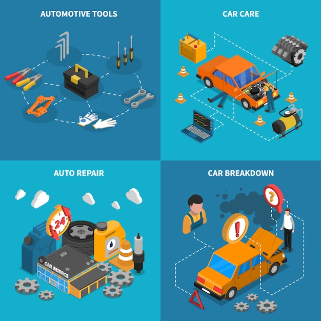 Service de voiture isométrique conceptuel icon set Vecteur gratuit